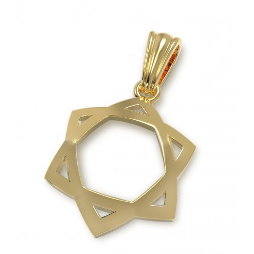 14K Gold Pendant, Star of David with Classic Design and Concave Shape