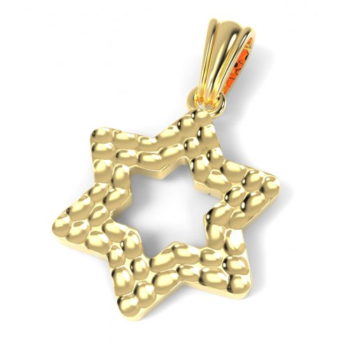 14K Gold Pendant, Star of David with Hammered Design