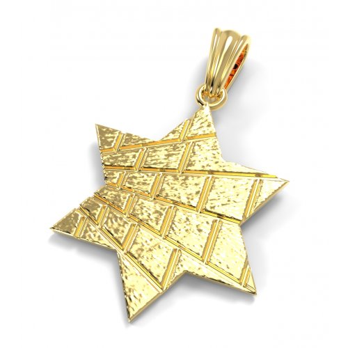 14K Gold Pendant, Star of David with Jerusalem Wall Design