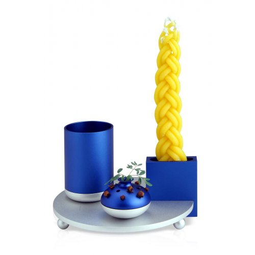 4-Piece Anodized Aluminum Havdalah Set in Blue and Silver- Dabbah Judaica