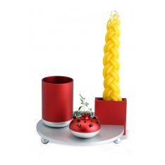 4-Piece Anodized Aluminum Havdalah Set in Red and Silver- Dabbah Judaica