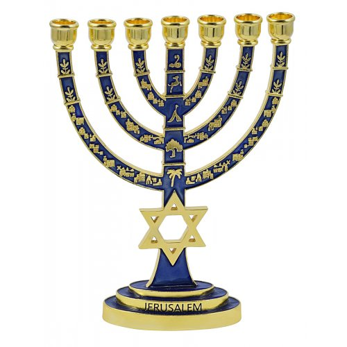 7-Branch Menorah Enamel Plated with Gold Judaic Decorations – Dark Blue
