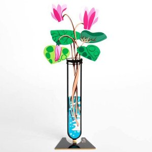 Hand Painted Pink Cyclamen Flower Tube Sculpture - Tzuki Art