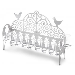 Hanukkah Menorah Decorative Birds and Swarovski Stones, for Oil - Dorit Judaica