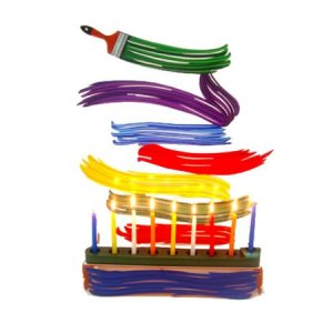 Laser Cut Metal Colorful Hanukkah Menorah, Brush Strokes - David Gerstein