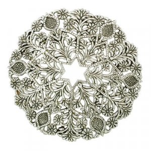Silver Aluminum Circular Trivet, Floral and Star of David Design - Yair Emanuel
