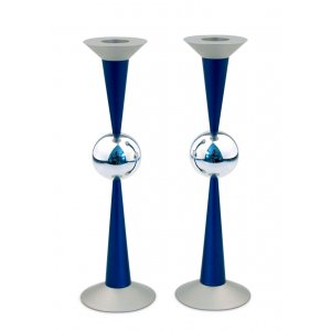 Blue Aluminum The Ball Design Candlesticks by Agayof