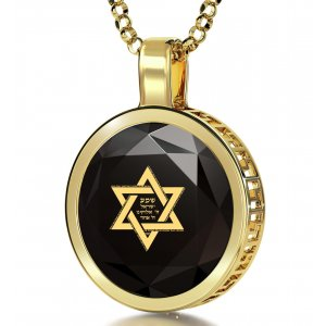 Black Shema Star of David Goldfilled Pendant By Nano Jewelry