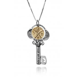 Tikun Klali Key Kabbalah Pendant with an Inside Rotating Coin by HaAri Jewelry