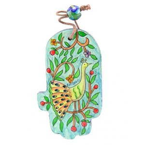 Small Hand Painted Wood Wall Hamsa, Green and Gold Peacocks - Yair Emanuel