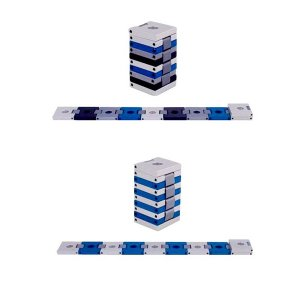 Compact Travelling Menorah in Belt Shape, Shades of Blue - Agayof