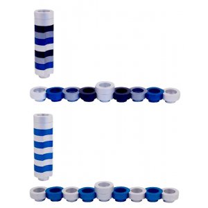 Compact Doughnut Travelling Menorah, Blue Silver and Black Colors - Agayof