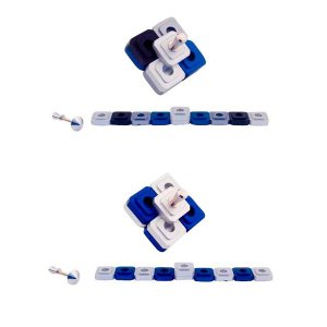 Compact Two in One Dreidel Menorah , Blue and Silver and Black Colors - Agayof