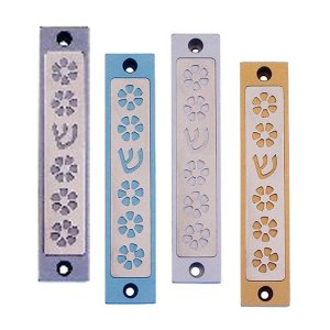 Adorable Flower Design Mezuzah Case by Agayof
