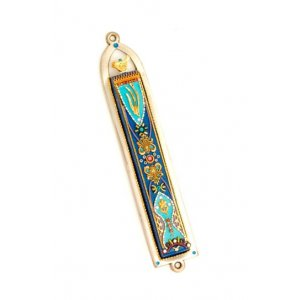 Blue and Green Oriental Pewter Mezuzah - Ester Shahaf