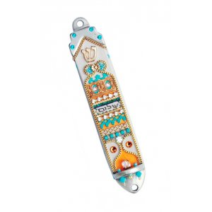 Pewter Mezuzah Case with Shalom - Ester Shahaf