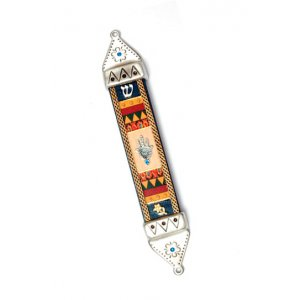 Pewter and Wood Hamsa Mezuzah - Shahaf