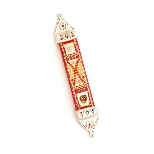 Ester Shahaf Red Wood and Pewter Mezuzah Case