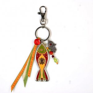 Fish Key Ring in Orange and Red - Shahaf
