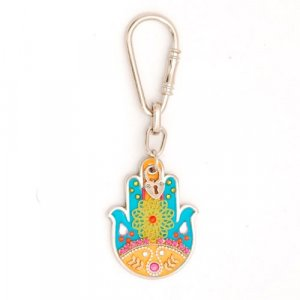 Keyring with Turquoise Flower Hamsa by Shahaf