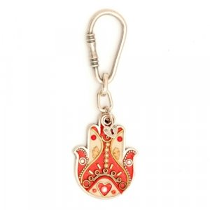 Hamsa Key Ring by Shahaf in Red and Beige colors