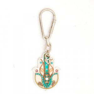 Hamsa Keychain in Turquoise - Ester Shahaf