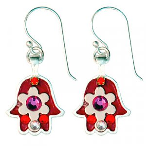 Red-pink Flower Hamsa Earrings - Ester Shahaf