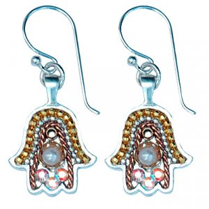 Oriental Silver Hamsa Earrings - Ester Shahaf