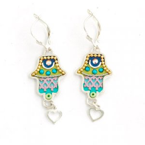 Hamsa Earrings with Heart in Green - Ester Shahaf