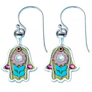 Silver Hamsa Flower Earrings - Ester Shahaf