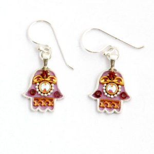 Maroon-purple Hamsa Earrings - Ester Shahaf
