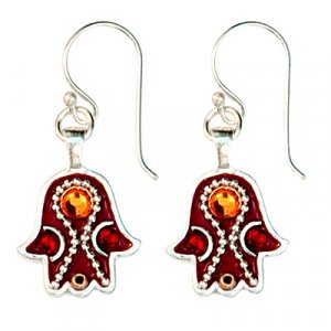 Warm Maroon Hamsa Earrings by Shahaf