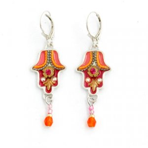 Red-Orange Hamsa Earrings with Matching Beads - Shahaf
