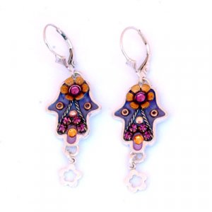 Hamsa Earrings with Flower Dangle - Ester Shahaf