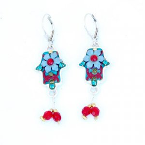 Hamsa Earrings in Blue and red with Matching Bead Dangle