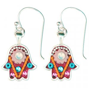 Pink Flower Hamsa Earrings - Ester Shahaf