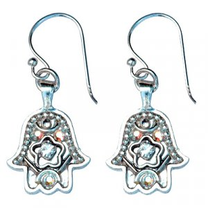 Silver Decorated Hamsa Earrings - Ester Shahaf