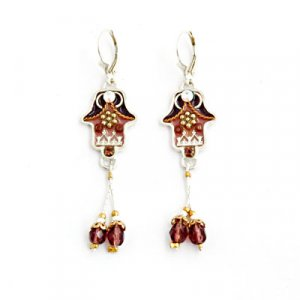 Autumn Tones Hamsa Earrings with Beads - Ester Shahaf