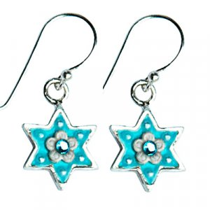 Turquoise Color and Silver Star of David Earrings - Shahaf