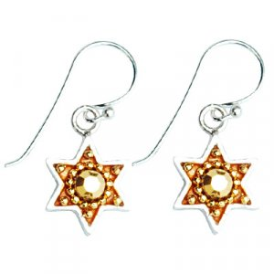 Gold Color Star of David Earrings - Ester Shahaf
