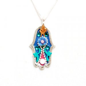 Blue Flower Hamsa Necklace by Shahaf