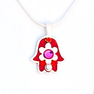 Silver Flower in Hamsa Necklace by Ester Shahaf