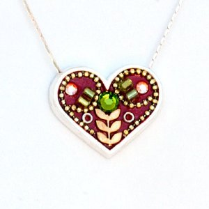 Ester Shahaf Maroon Heart Flower Necklace