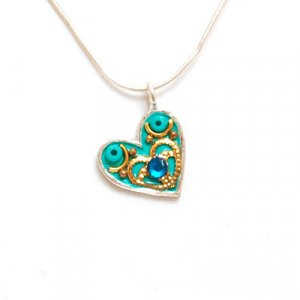Silver Heart Necklace in Turquoise - Shahaf