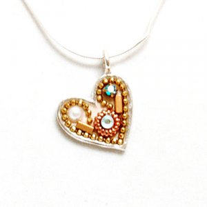 Ester Shahaf Heart Necklace with metal accents