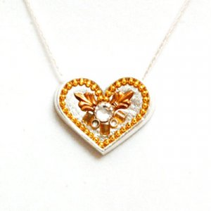 Silver Heart Necklace with Gold Shades - Ester Shahaf