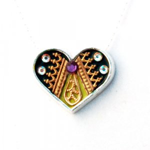 Ester Shahaf Oriental Silver Heart Necklace