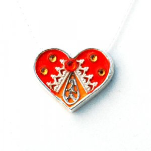 Ester Shahaf Red-Orange Heart Necklace