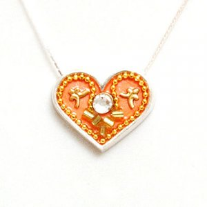 Ester Shahaf Peach Tone Silver Heart Necklace
