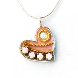 Silver and Pink Heart Necklace - Ester Shahaf